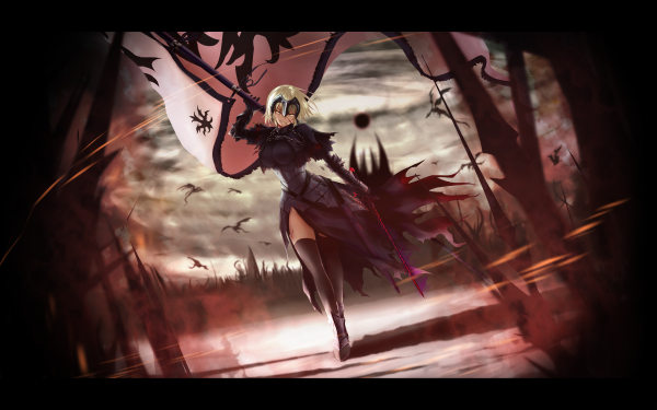 Anime Fate/Grand Order Fate Series Jeanne d'Arc Alter Avenger Woman Warrior Sword Lance Flag Short Hair Blonde Yellow Eyes Dragon Jeanne d'Arc Fate HD Wallpaper | Background Image