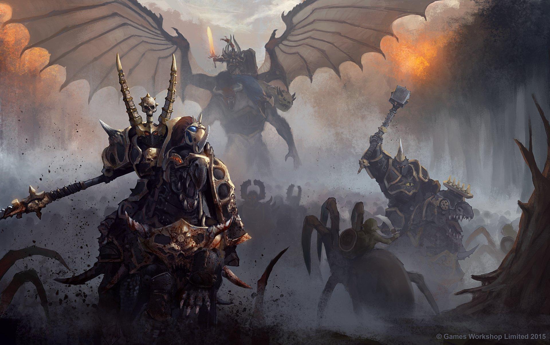 Mörk - Battle  Demon Creature Warrior Orc Armor Warhammer Bakgrund