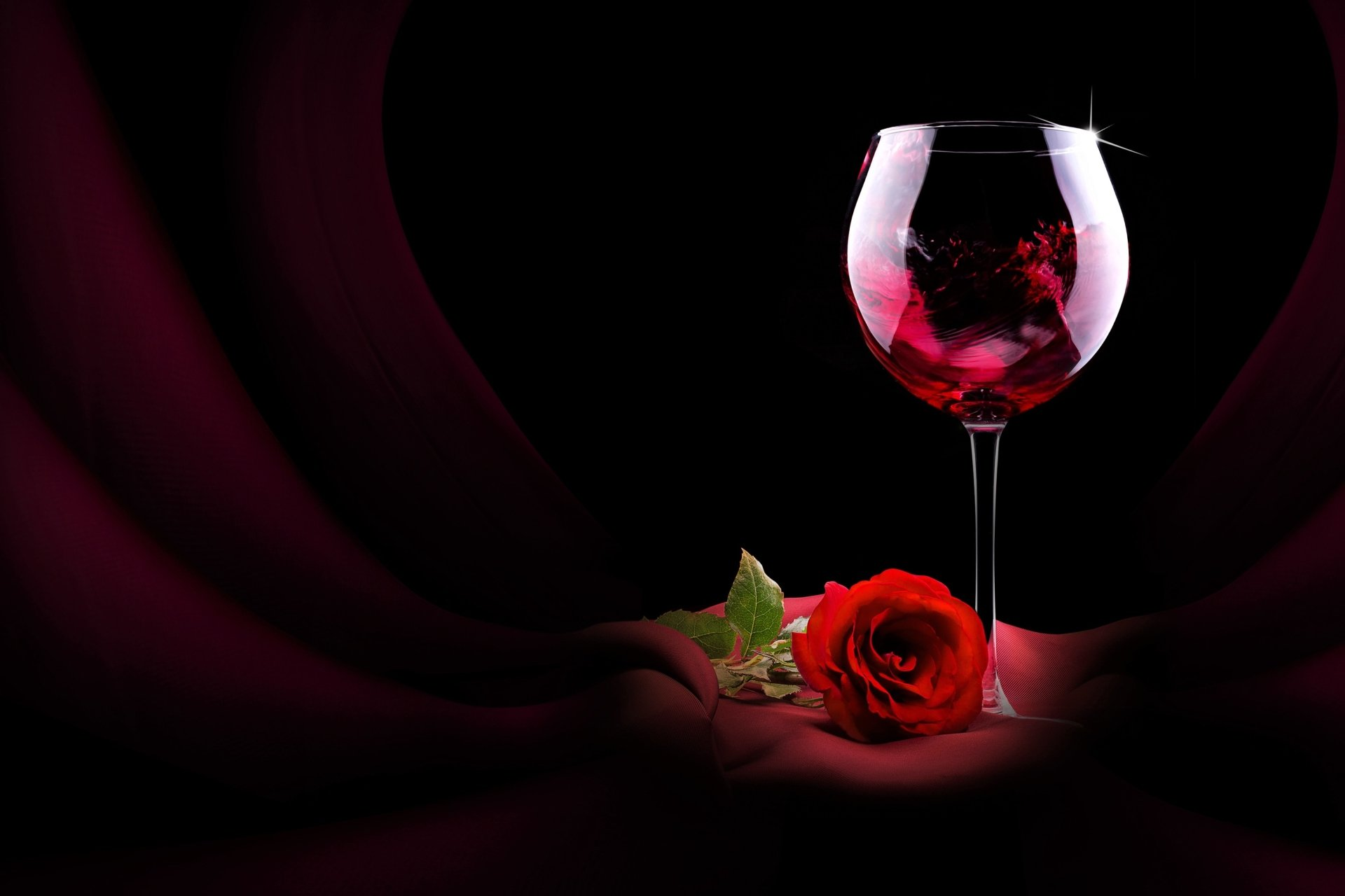 Red Rose And Glass Of Wine HD Wallpaper
