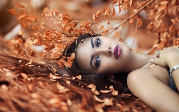 Kvinnor Model Models Woman Face Fall Löv Brunette Lipstick Lying Down HD Wallpaper | Background Image