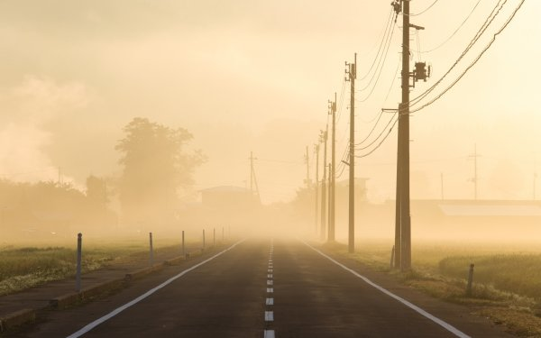 Man Made Road Fog Power Line HD Wallpaper | Background Image