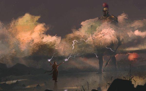 Fantaisie Dieux Mars Magicienne Spear Armor Fond d'écran HD | Image