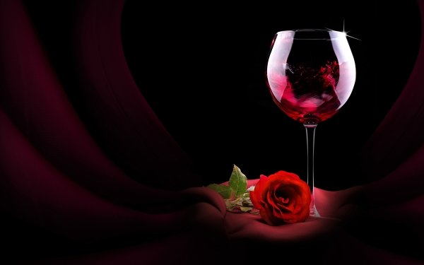 Photography Still Life Wine Glass Rose Red Rose HD Wallpaper | Background Image