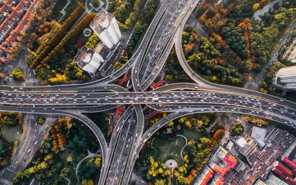 Man Made Highway Aerial Road Freeway Shanghai China HD Wallpaper | Background Image