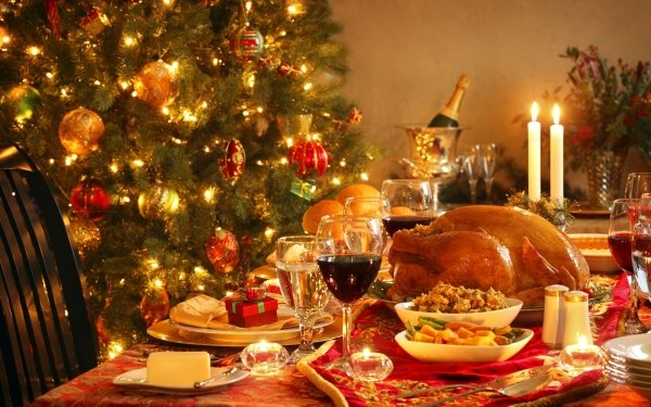 Holiday Christmas Christmas Ornaments Meal Meat Candle HD Wallpaper | Background Image