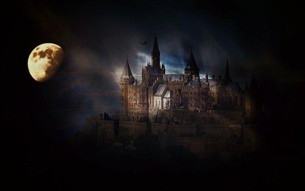 Oscuro Castle Castillos Luna Noche Fondo de pantalla HD | Fondo de Escritorio