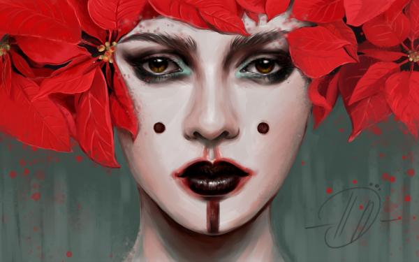 Women Artistic Poinsettia Leaf Face Lipstick HD Wallpaper   Background Image