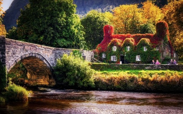 Man Made House Buildings Ivy Fall Foliage Bridge Wales River HD Wallpaper | Background Image
