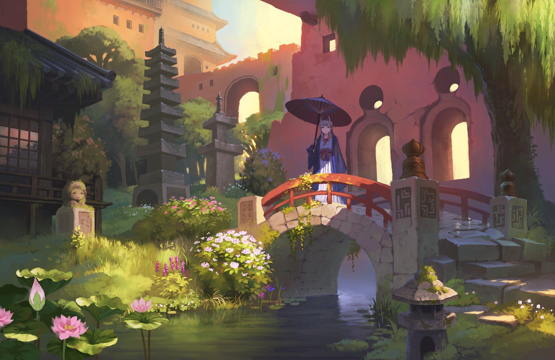 Anime - Original  Flower Umbrella Horns Park Girl Oriental Bridge Wallpaper