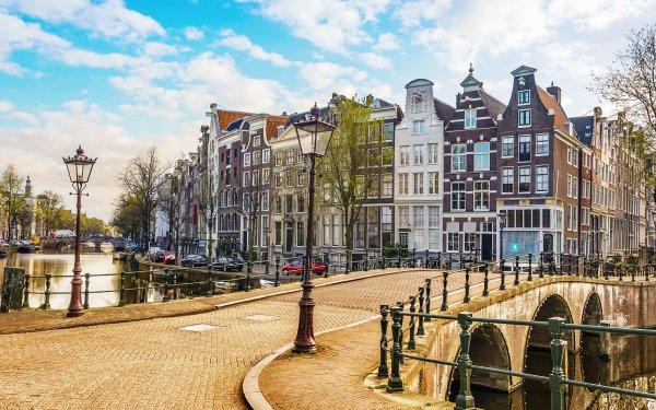 Hecho por el hombre Ámsterdam Ciudades Países Bajos Casa Canal Street Light Fondo de pantalla HD | Fondo de Escritorio
