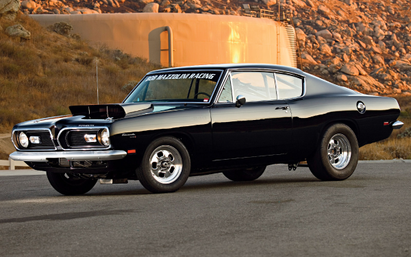 Vehicles Plymouth Barracuda Plymouth Muscle Car Race Car Black Car HD Wallpaper   Background Image