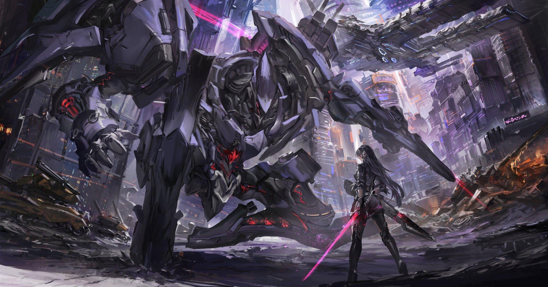 Anime - Original  Sci Fi Girl Blade Robot City Ruin Wallpaper