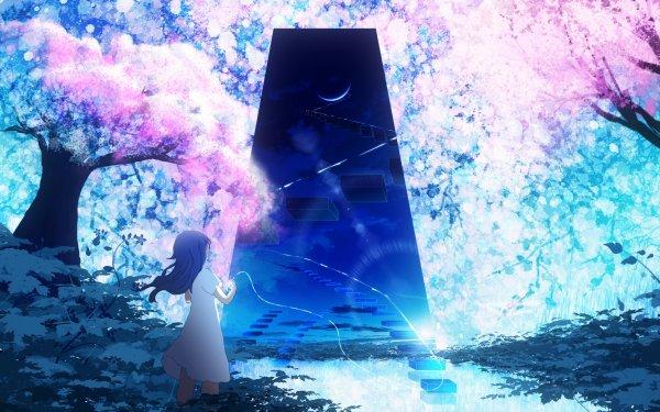 Anime Original Cherry Blossom Fantasía Árbol Fondo de pantalla HD | Fondo de Escritorio