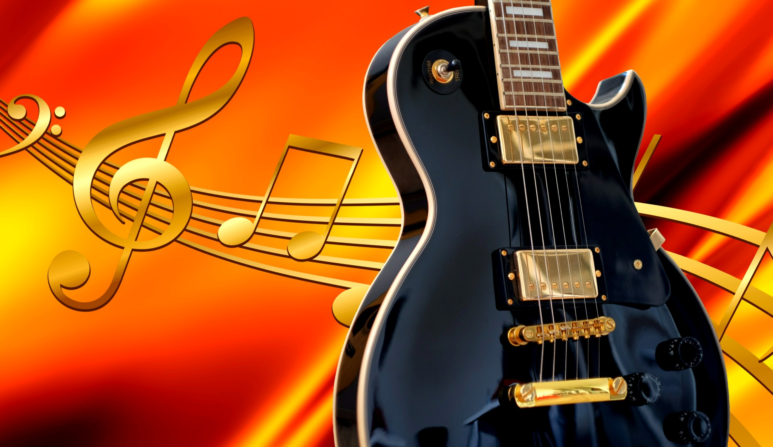 Artistic Music Notes And Guitar Wallpaper Hd Wallpaper Background Image 2587x1496 Id 884420 Wallpaper Abyss