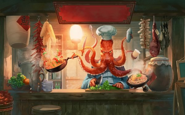 Fantasy Creature Chef Food Cooking Octopus HD Wallpaper | Background Image
