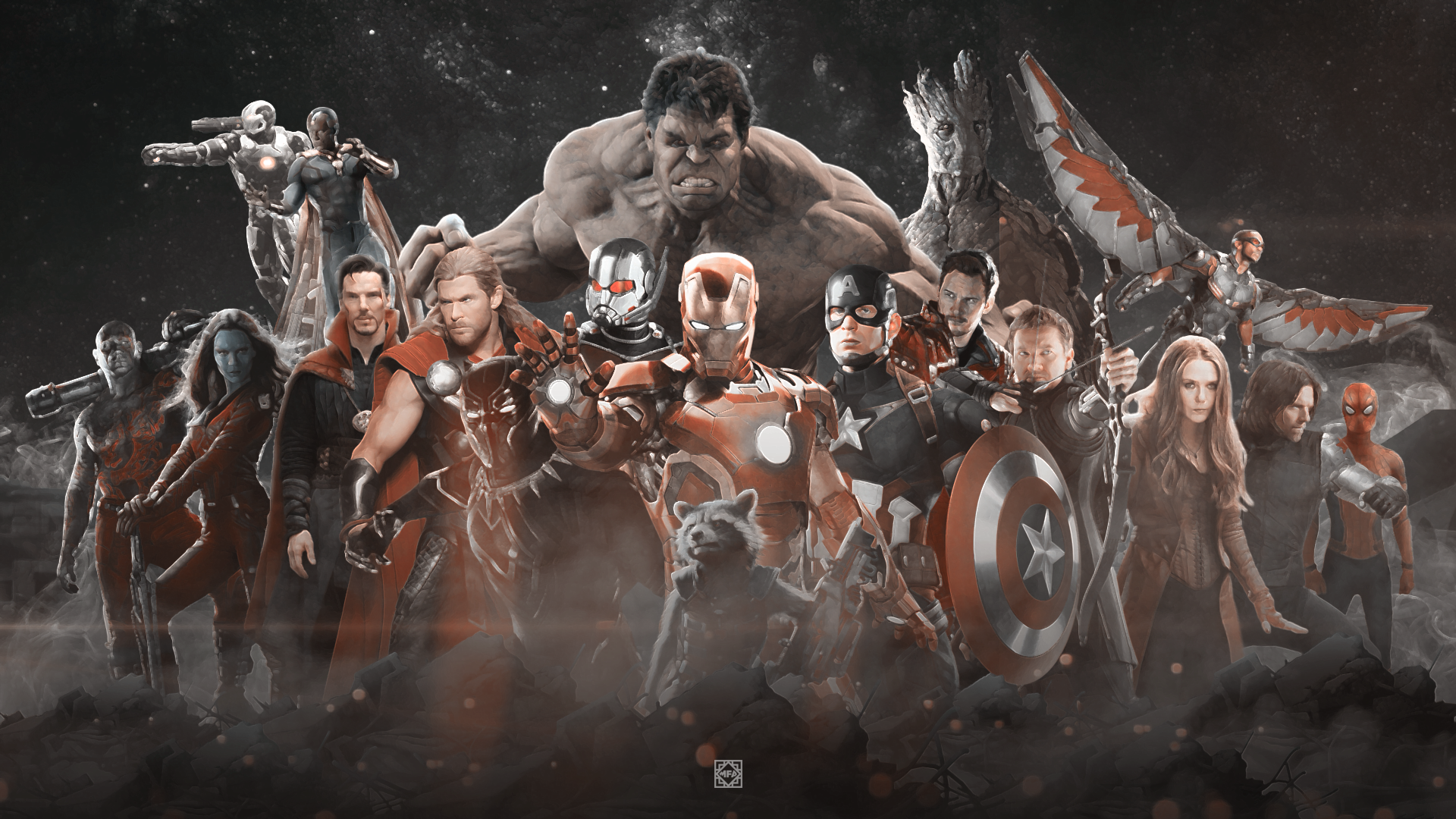 Movie - Avengers: Infinity War  Avengers Hulk Thor Ant-Man Wanda Maximoff Winter Soldier Vision (Marvel Comics) Falcon (Marvel Comics) War Machine Spider-Man Iron Man Captain America Black Widow Black Panther (Marvel Comics) Groot Rocket Raccoon Wallpaper