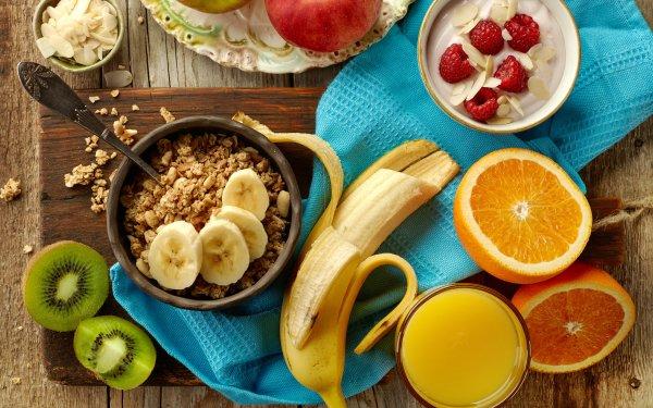 Food Breakfast Still Life Fruit Juice Banana Muesli Kiwi orange HD Wallpaper   Background Image