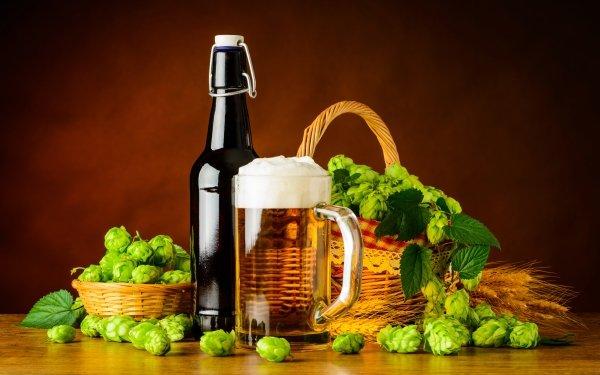 Photography Still Life Beer Alcohol Drink Glass Bottle Hop Basket HD Wallpaper | Background Image