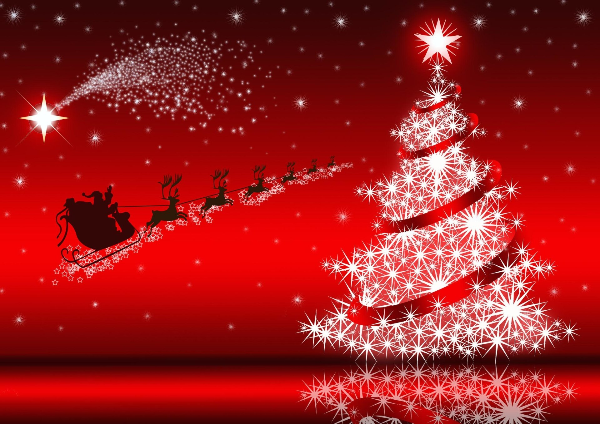 Holiday - Christmas  Red Sleigh Santa Claus Christmas Tree Reindeer Stars Wallpaper