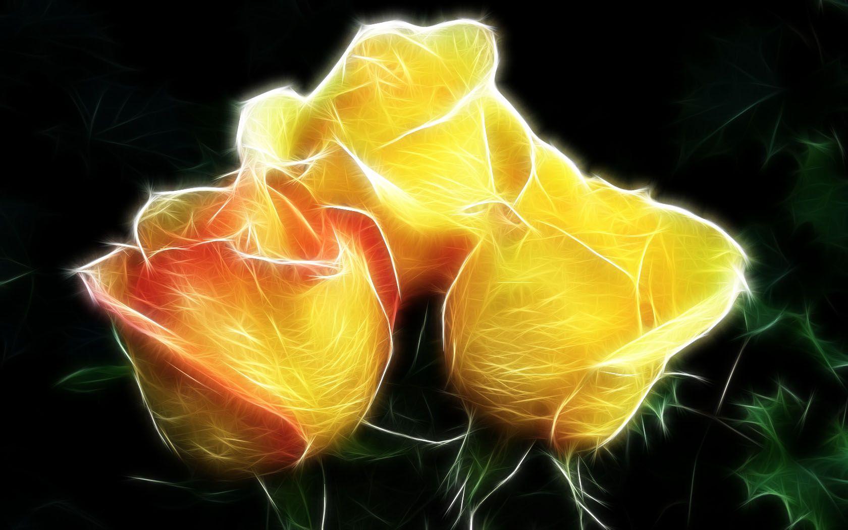 Artístico - Flor  Yellow Rosa Fractal Fondo de Pantalla