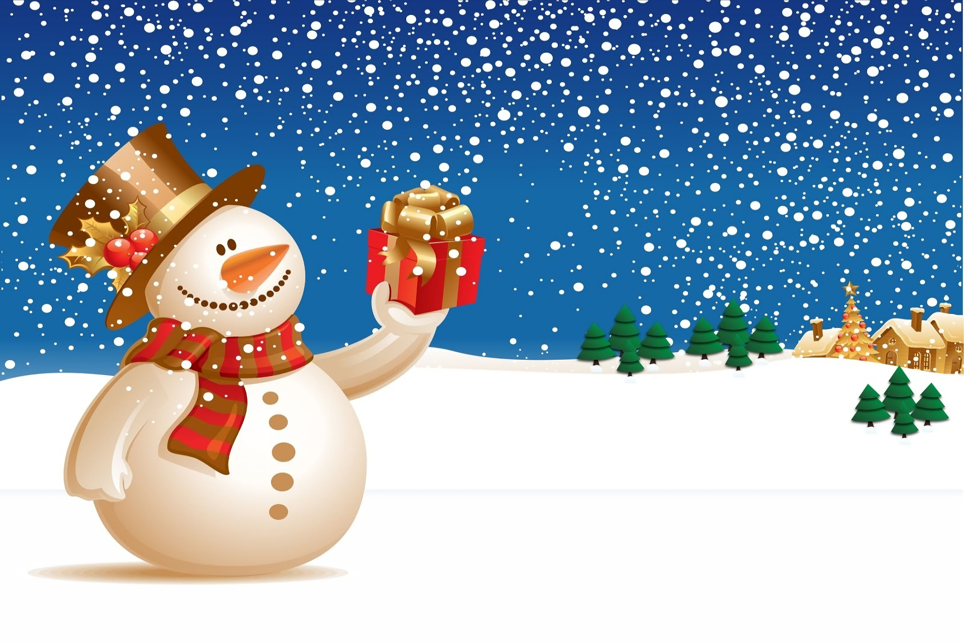 Holiday - Christmas  Snowman Gift Snow Snowfall Wallpaper