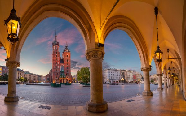 Man Made City Cities Poland Kraków Arch Architecture Square Church Cathedral HD Wallpaper | Background Image