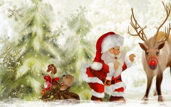 Holiday Christmas Santa Reindeer Rudolph HD Wallpaper | Background Image