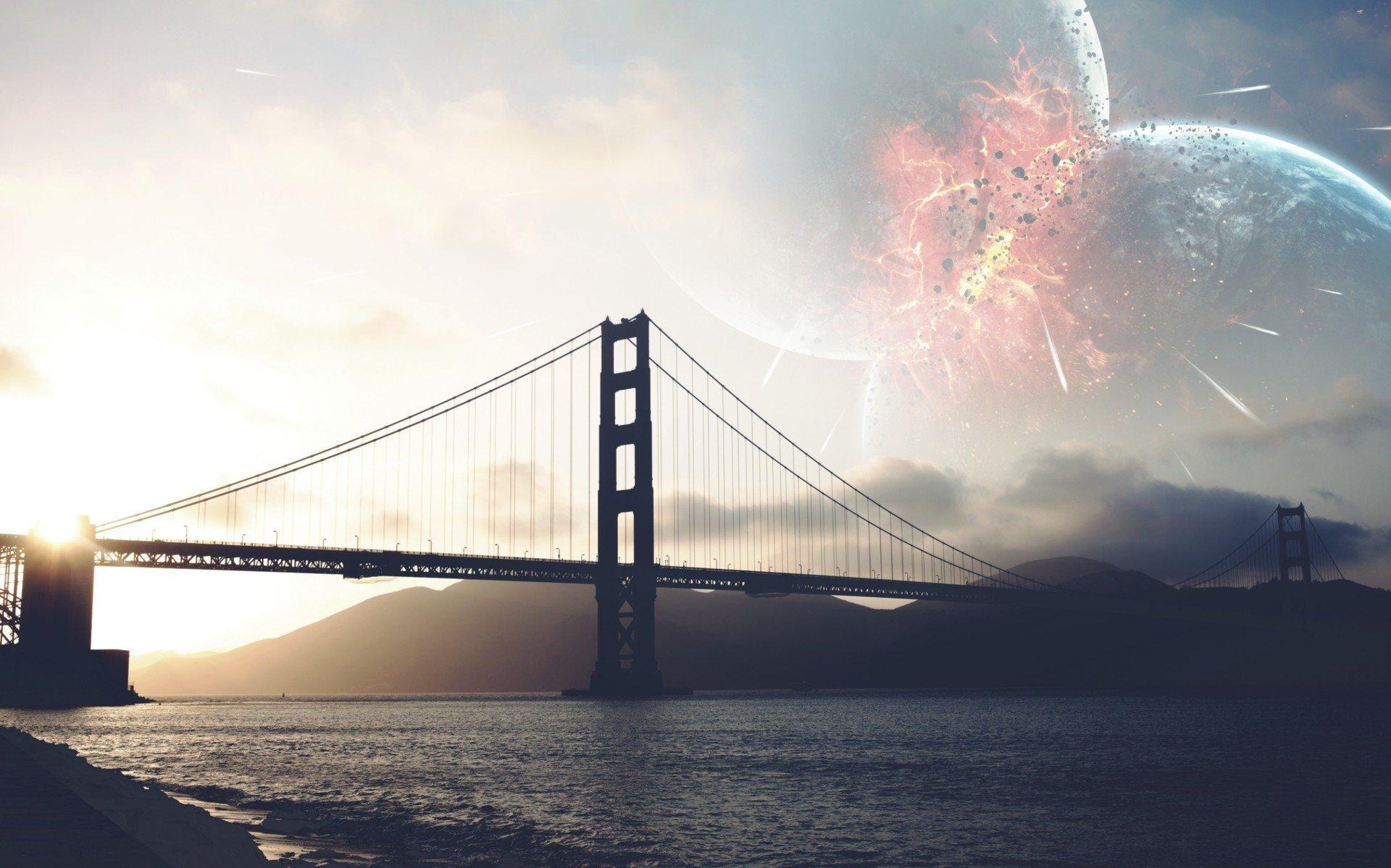 Photography - Manipulation  Bridge Planet Golden Gate Collision Sci Fi Wallpaper
