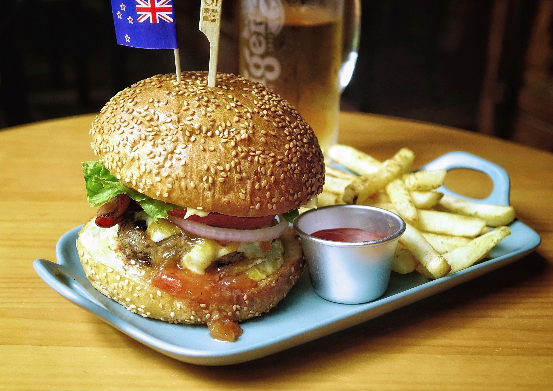 Food - Burger  Lunch Hamburger Meal French Fries Wallpaper