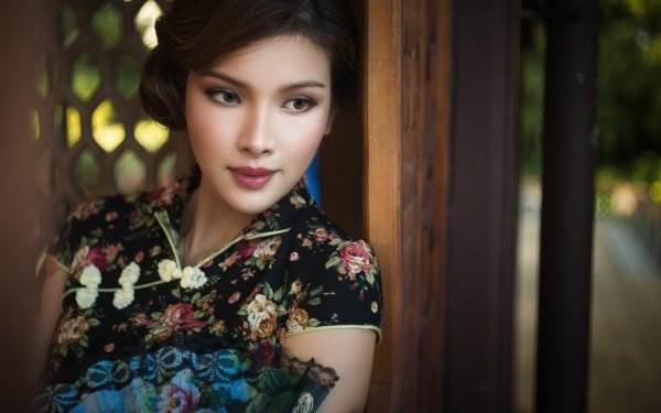 Women Asian Model Lipstick Brunette Brown Eyes HD Wallpaper | Background Image