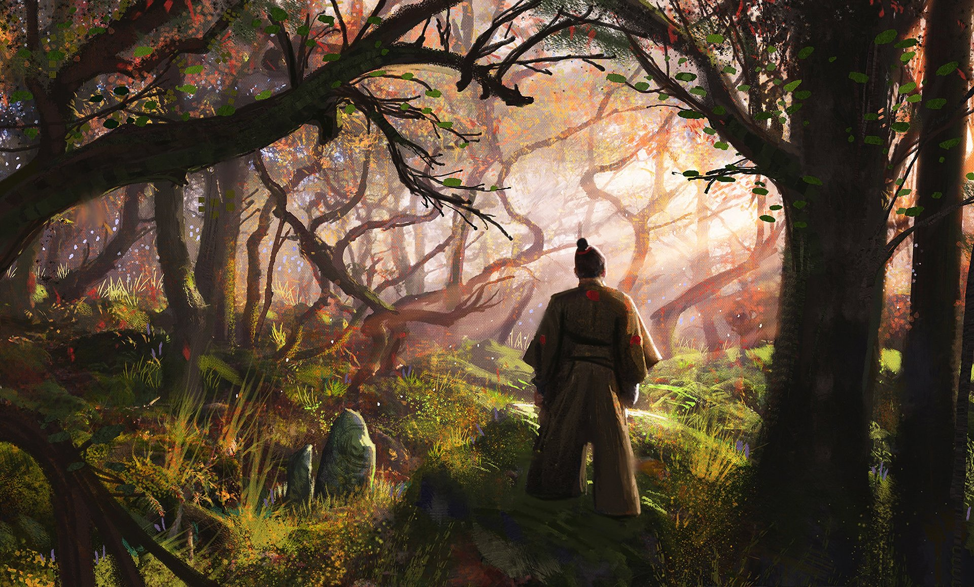 Fantasy - Samurai  Forest Man Tree Wallpaper