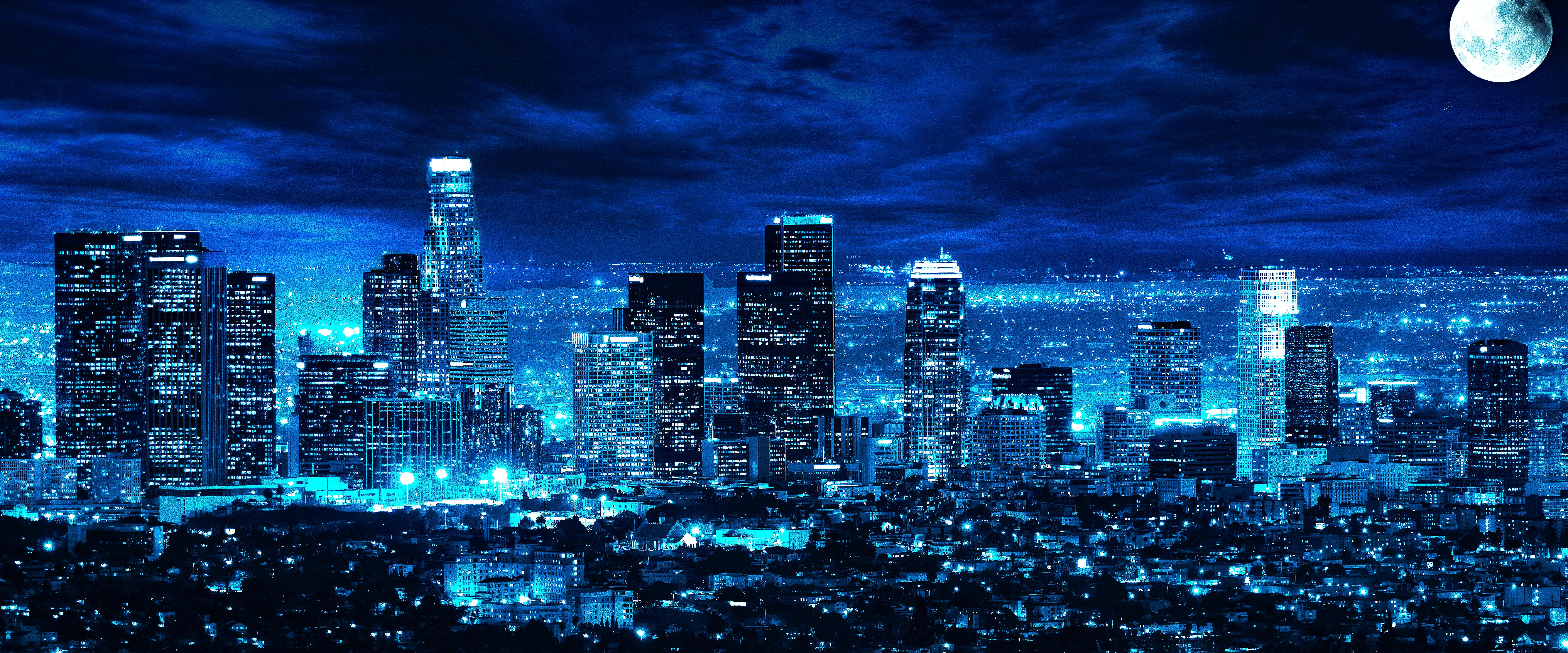 Los Angeles Skyline Night Time 5k Retina Ultra Fondo De