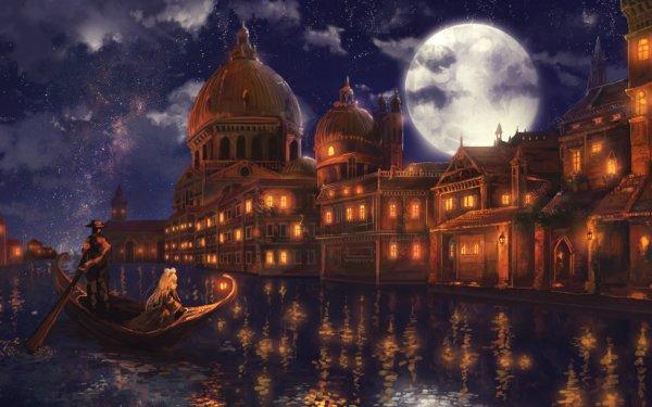 Anime Original Gondola River Night Moon Town HD Wallpaper | Background Image