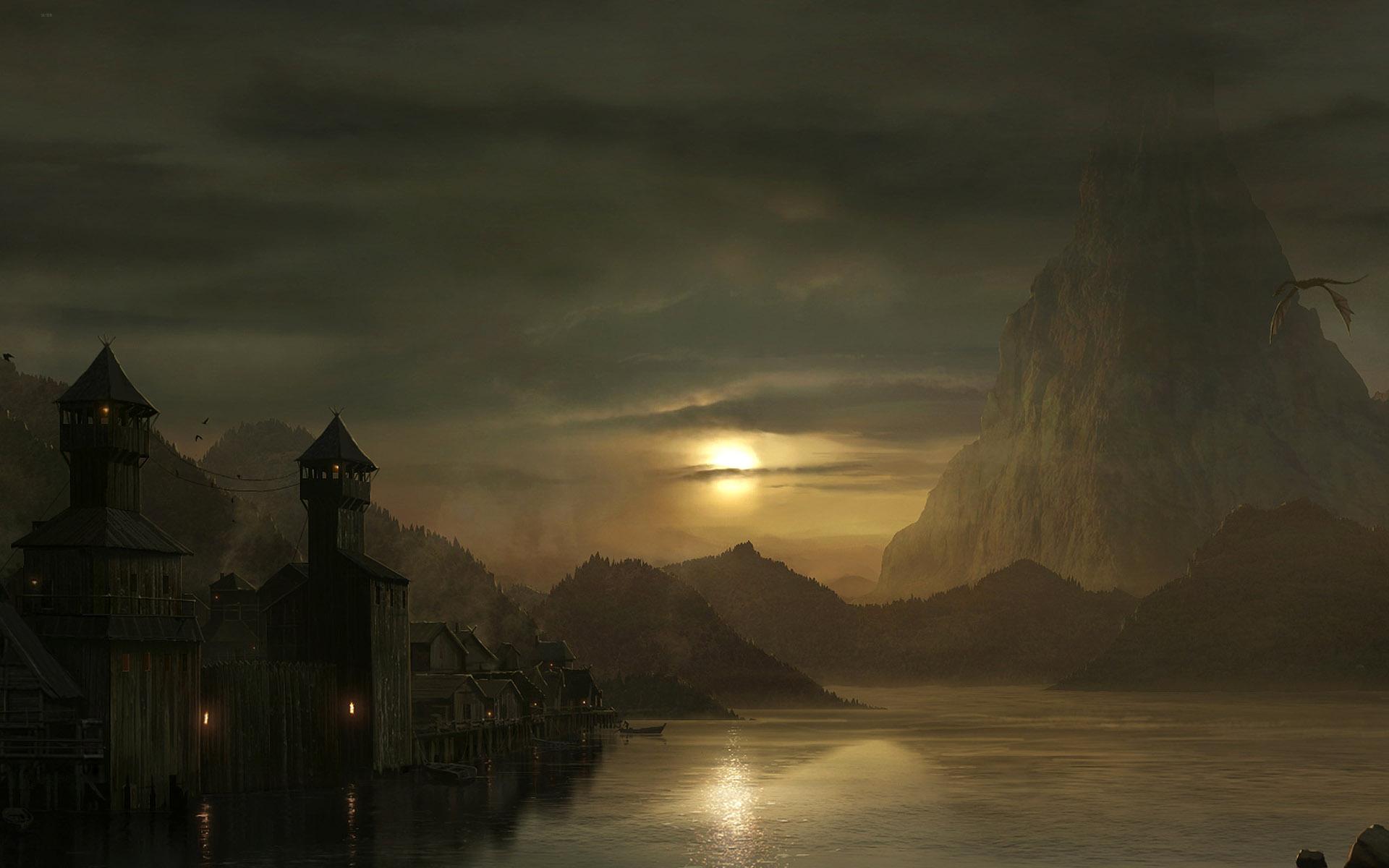Dragon flying over the lake at dusk full hd wallpaper and - Fantasy game wallpaper ...