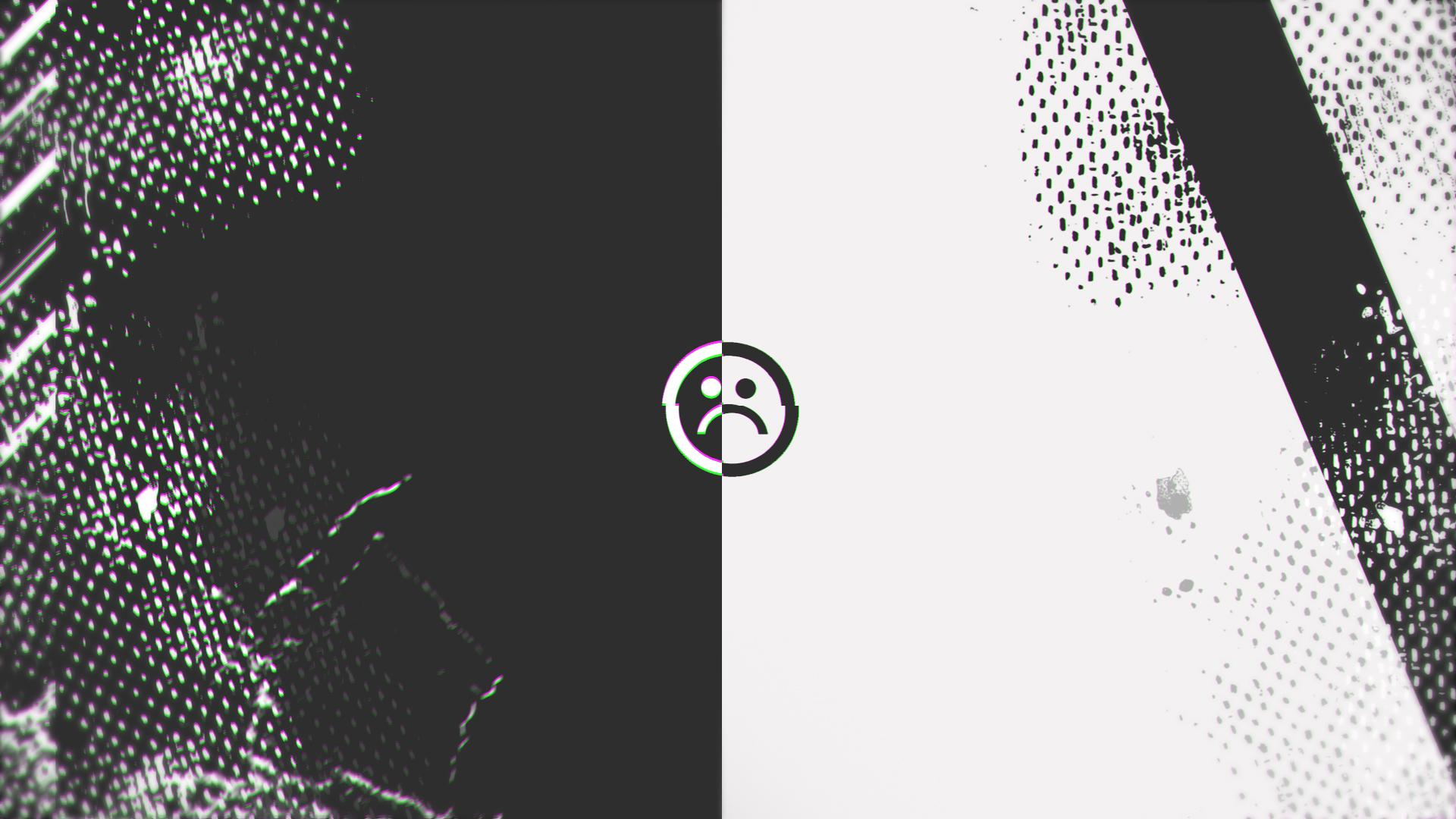 Abstract Glitch Sad Face Full Hd Desktop Wallpaper Papel De Parede