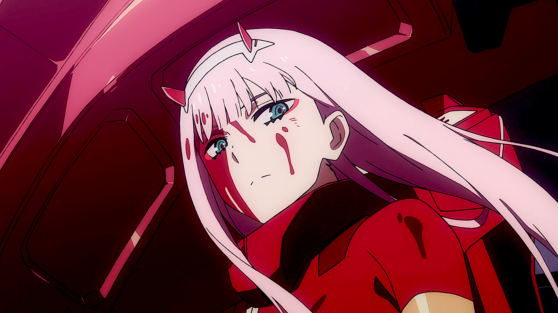 动漫 - Darling in the FranXX  Zero Two (Darling in the FranXX) Pink Hair Horns 红色 Green Eyes 动漫 壁纸