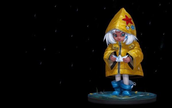 Artistic Child Little Girl Paper Boat White Hair Blue Eyes HD Wallpaper | Background Image
