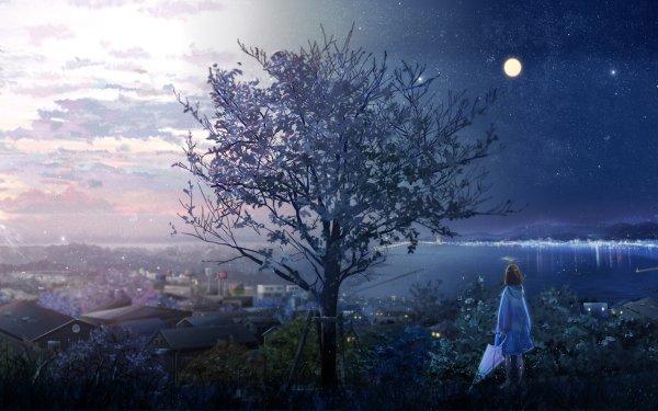 Anime Original Árbol Edificio Agua Raincoat Paraguas Luna Cielo Nube Amanecer Rayo de sol Fondo de pantalla HD | Fondo de Escritorio