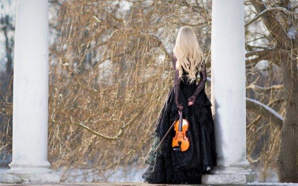 Women Photography Woman Violin Blonde Rear Long Hair Dress HD Wallpaper | Background Image