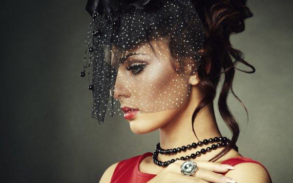 Women Model Models Profile Veil Jewelry Lipstick Brunette HD Wallpaper | Background Image