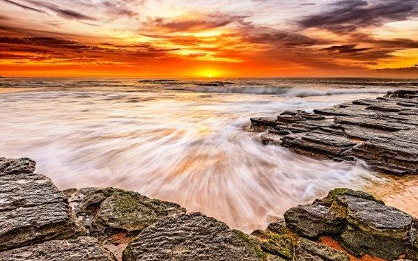 Earth Sunset Ocean Rock Slate Sea HD Wallpaper   Background Image