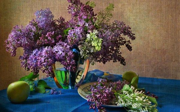 Fotografía Bodegón Lila Vase Plate Manzana Pink Flower Fondo de pantalla HD | Fondo de Escritorio