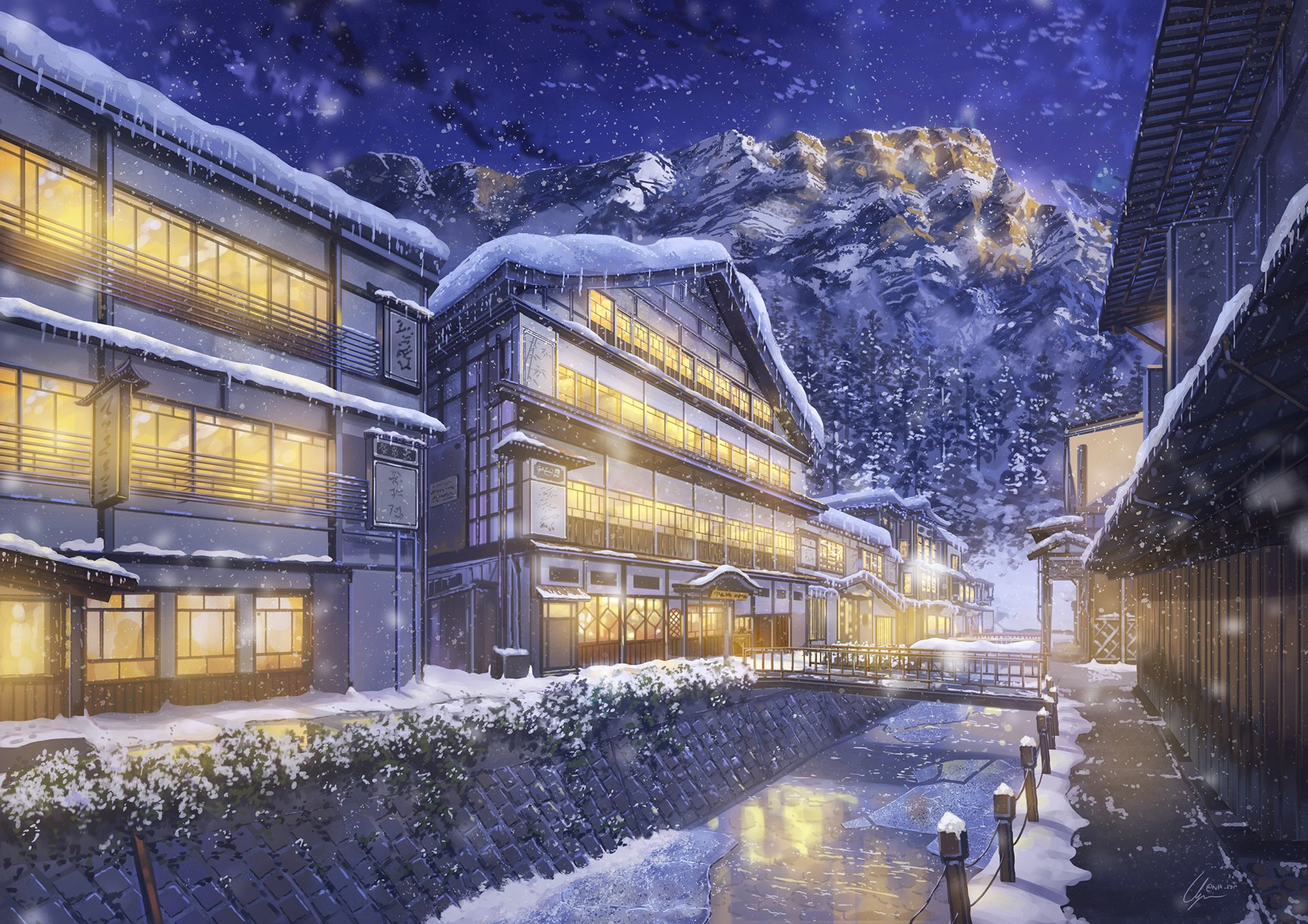 Anime - Original  Winter Building Snow Snowfall House Town Wallpaper