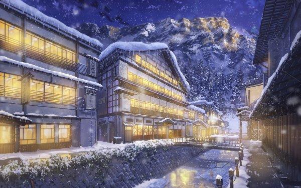 Anime Original Invierno Edificio Snow Snowfall Casa Pueblo Fondo de pantalla HD | Fondo de Escritorio