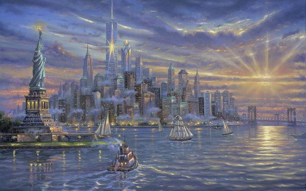 Artistic Painting Statue of Liberty New York City HD Wallpaper | Background Image