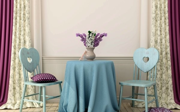 Photography Still Life Interior Room Table Chair Heart Vase Lilac Cushion HD Wallpaper   Background Image