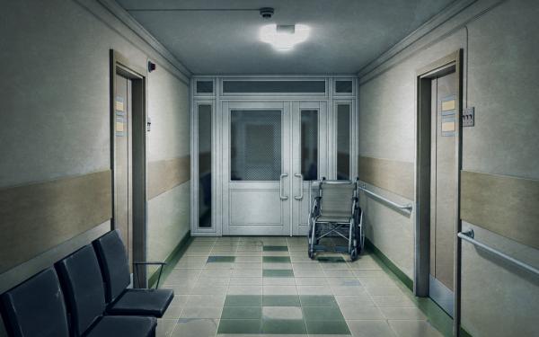 Anime Original Hospital Wheelchair Hall Room HD Wallpaper   Background Image