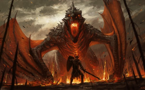 Fantasy Dragon Warrior Knight Sword Armor Shield Wyvern Monster HD Wallpaper | Background Image