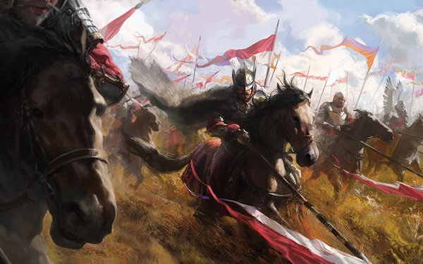 Fantaisie Guerrier(ère) Cheval Spear Banner Bataille Fond d'écran HD | Image