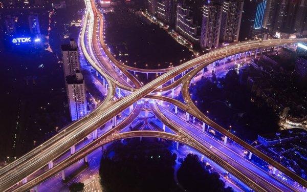 Man Made Highway Road Night Aerial Light Shanghai China HD Wallpaper | Background Image
